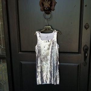 alice + olivia sliver sequin party dress M